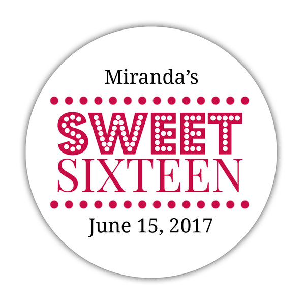 "Sweet 16 stickers 'Classic Boldness' - 1.5"" circle = 30 labels per sheet / Raspberry - Dazzling Daisies"