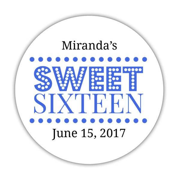 "Sweet 16 stickers 'Classic Boldness' - 1.5"" circle = 30 labels per sheet / Royal blue - Dazzling Daisies"