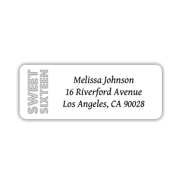 Sweet 16 address labels - Silver - Dazzling Daisies