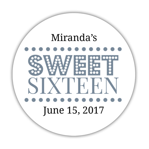 "Sweet 16 stickers 'Classic Boldness' - 1.5"" circle = 30 labels per sheet / Slate - Dazzling Daisies"