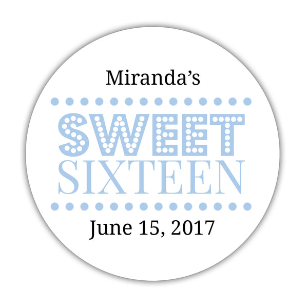"Sweet 16 stickers 'Classic Boldness' - 1.5"" circle = 30 labels per sheet / Steel blue - Dazzling Daisies"