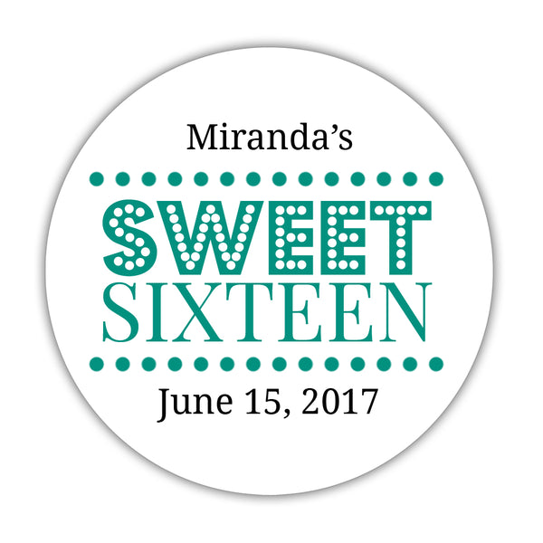 "Sweet 16 stickers 'Classic Boldness' - 1.5"" circle = 30 labels per sheet / Teal - Dazzling Daisies"