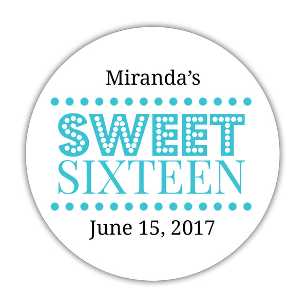 "Sweet 16 stickers 'Classic Boldness' - 1.5"" circle = 30 labels per sheet / Turquoise - Dazzling Daisies"