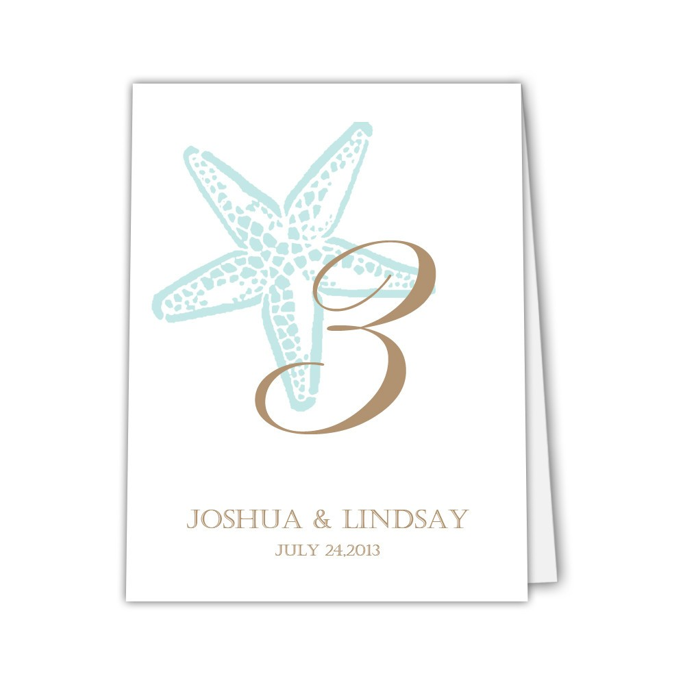Starfish table numbers - 1-6 / Coral / Print on one side - Dazzling Daisies