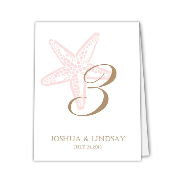 Starfish table numbers - 1-6 / Blush / Print on one side - Dazzling Daisies