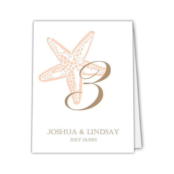 Starfish table numbers - 1-6 / Peach / Print on one side - Dazzling Daisies