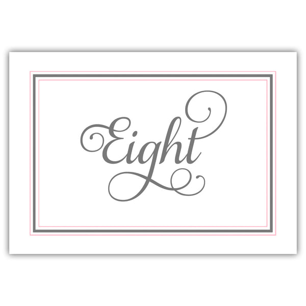 Calligraphy table numbers - 1-6 / Gray/Pink - Dazzling Daisies