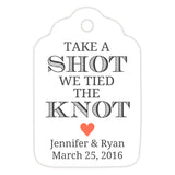 Take a shot we tied the knot tags - Coral - Dazzling Daisies