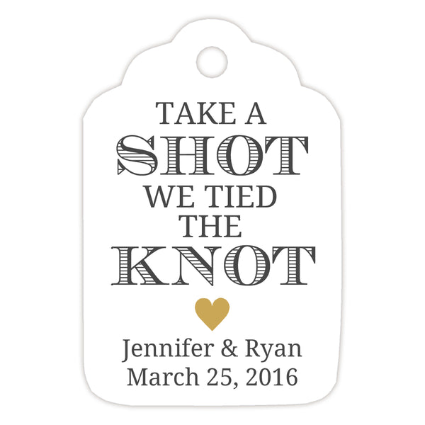Take a shot we tied the knot tags - Gold - Dazzling Daisies