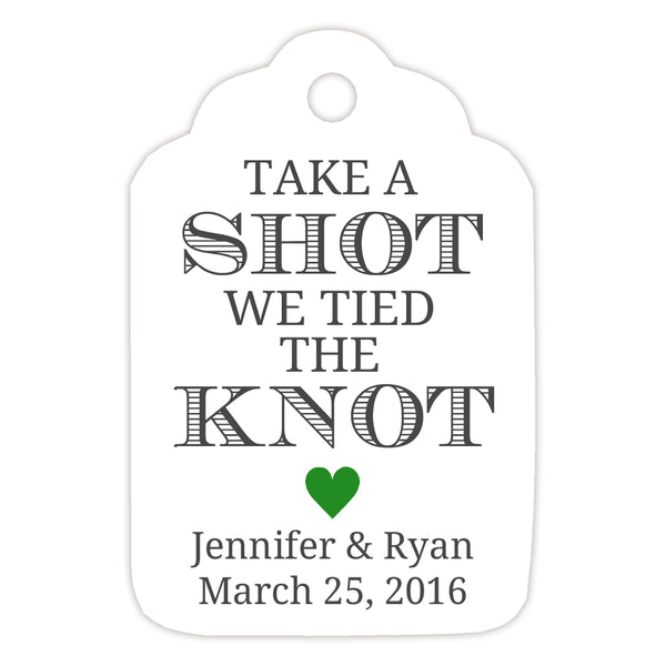 Take a shot we tied the knot tags - Green - Dazzling Daisies