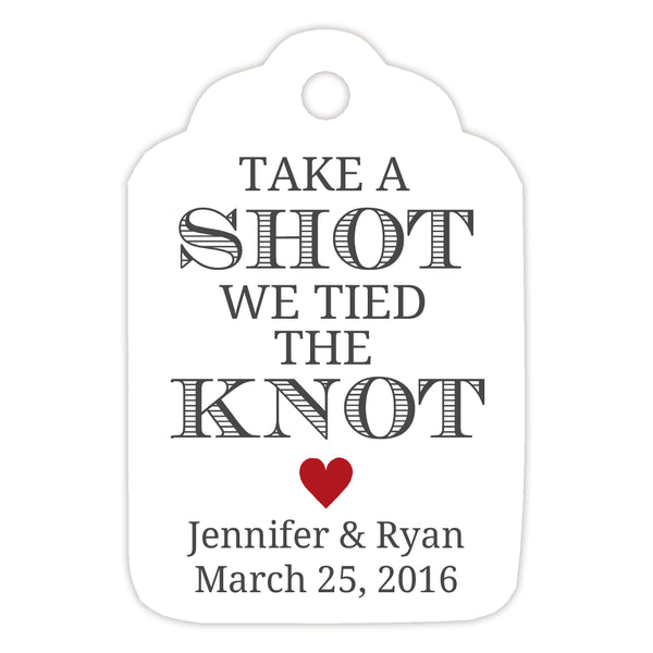 Take a shot we tied the knot tags - Indian red - Dazzling Daisies