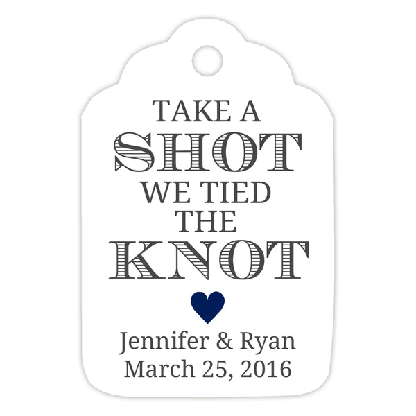 Take a shot we tied the knot tags - Navy - Dazzling Daisies