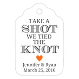 Take a shot we tied the knot tags - Orange - Dazzling Daisies