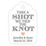 Take a shot we tied the knot tags - Peach - Dazzling Daisies