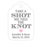 Take a shot we tied the knot tags - Pink - Dazzling Daisies