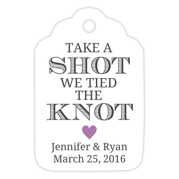 Take a shot we tied the knot tags - Plum - Dazzling Daisies
