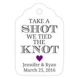 Take a shot we tied the knot tags - Purple - Dazzling Daisies