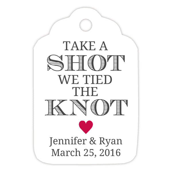 Take a shot we tied the knot tags - Raspberry - Dazzling Daisies