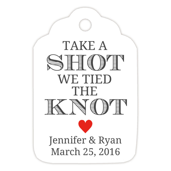Take a shot we tied the knot tags - Red - Dazzling Daisies