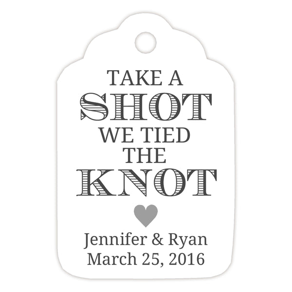 Take a shot we tied the knot tags - Silver - Dazzling Daisies