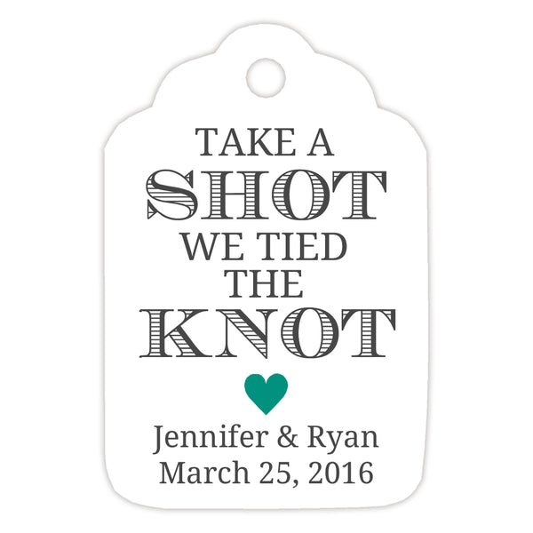 Take a shot we tied the knot tags - Teal - Dazzling Daisies