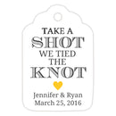 Take a shot we tied the knot tags - Yellow - Dazzling Daisies