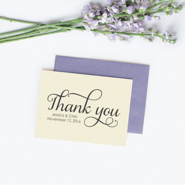 Personalized wedding thank you cards 'Excellent Elegance' - Champagne / White - Dazzling Daisies