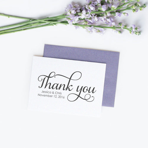 Personalized wedding thank you cards 'Excellent Elegance' - White / White - Dazzling Daisies
