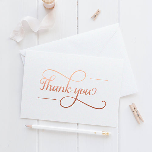 Thank you cards 'Absolute Elegance' - Rose gold foil - Dazzling Daisies