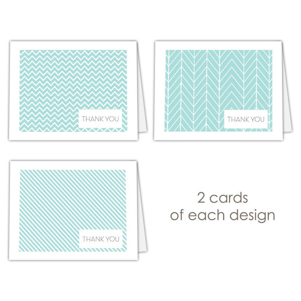 Thank you cards 'Geometric Patterns' - Aquamarine - Dazzling Daisies