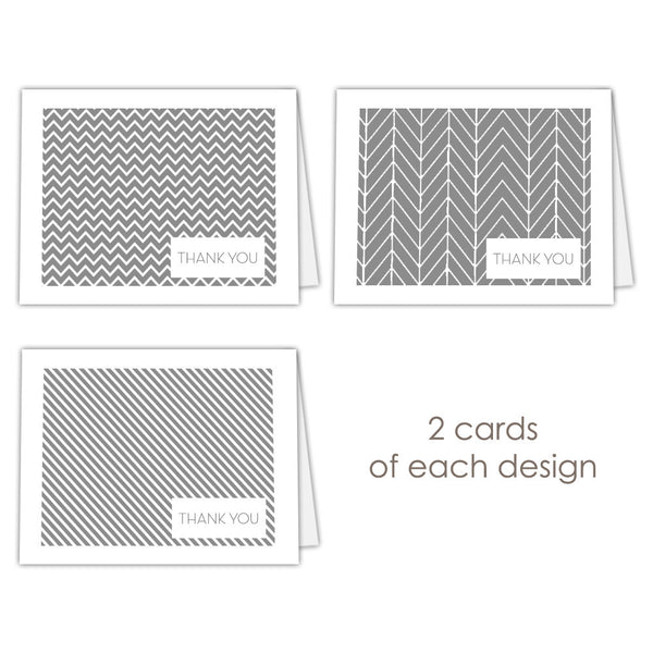 Thank you cards 'Geometric Patterns' - Gray - Dazzling Daisies