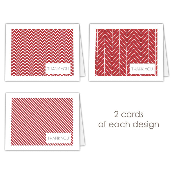 Thank you cards 'Geometric Patterns' - Indian red - Dazzling Daisies