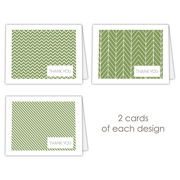 Thank you cards 'Geometric Patterns' - Olive - Dazzling Daisies