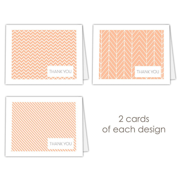 Thank you cards 'Geometric Patterns' - Peach - Dazzling Daisies
