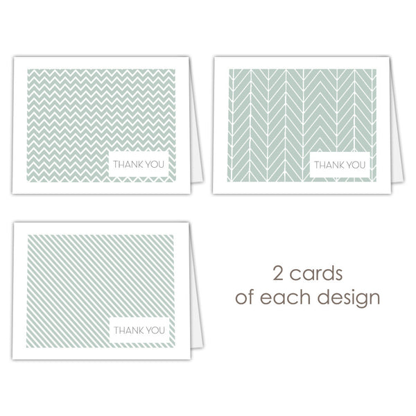 Thank you cards 'Geometric Patterns' - Sage - Dazzling Daisies