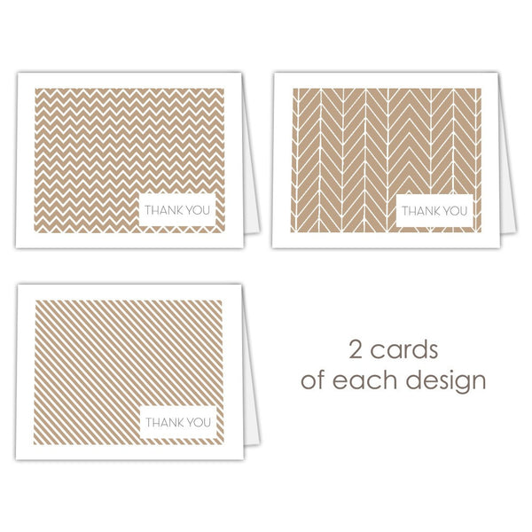 Thank you cards 'Geometric Patterns' - Sand - Dazzling Daisies