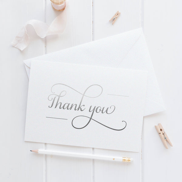 Thank you cards 'Absolute Elegance' - Silver foil - Dazzling Daisies