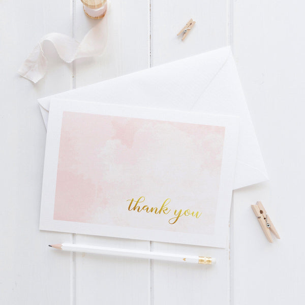 Thank you cards 'Whimsical Watercolor' - Blush - Dazzling Daisies