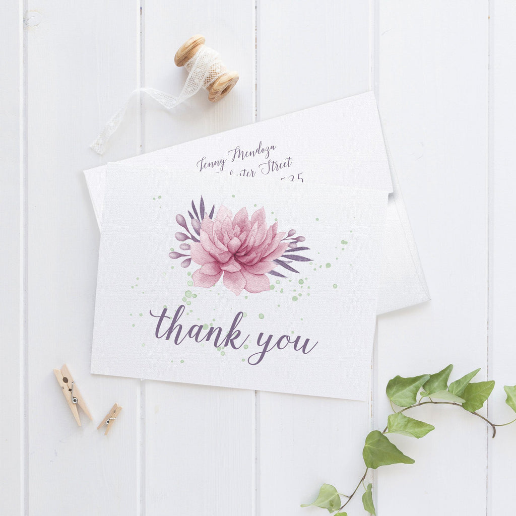 watercolor thank you cards set succulent dazzling daisies