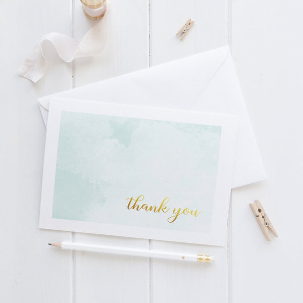 Thank you cards 'Whimsical Watercolor' - Aquamarine - Dazzling Daisies