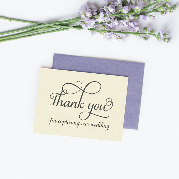 Thank you for capturing our wedding card 'Excellent Elegance' - Champagne / White - Dazzling Daisies