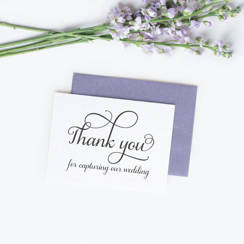 Thank you for capturing our wedding card elegant - White / White - Dazzling Daisies