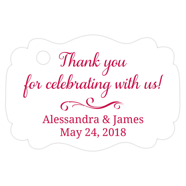 Thank you for celebrating with us tags - Raspberry - Dazzling Daisies