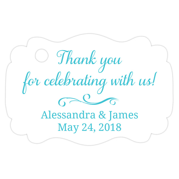 Thank you for celebrating with us tags - Turquoise - Dazzling Daisies