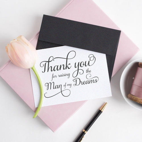 Thank you for raising the man of my dreams card elegant - White / White - Dazzling Daisies