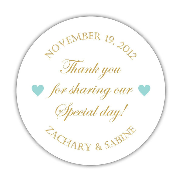 "Thank you for sharing our special day stickers - 1.5"" circle = 30 labels per sheet / Gold/Aquamarine - Dazzling Daisies"