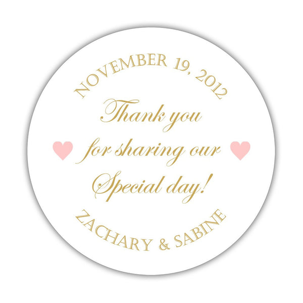 "Thank you for sharing our special day stickers - 1.5"" circle = 30 labels per sheet / Gold/Blush - Dazzling Daisies"