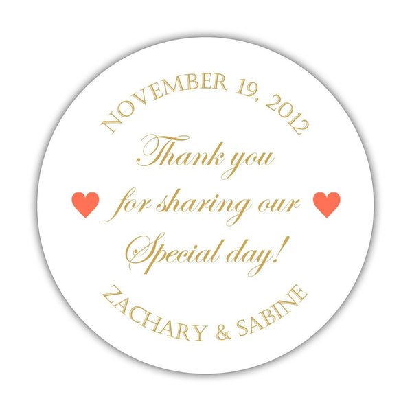 "Thank you for sharing our special day stickers - 1.5"" circle = 30 labels per sheet / Gold/Coral - Dazzling Daisies"