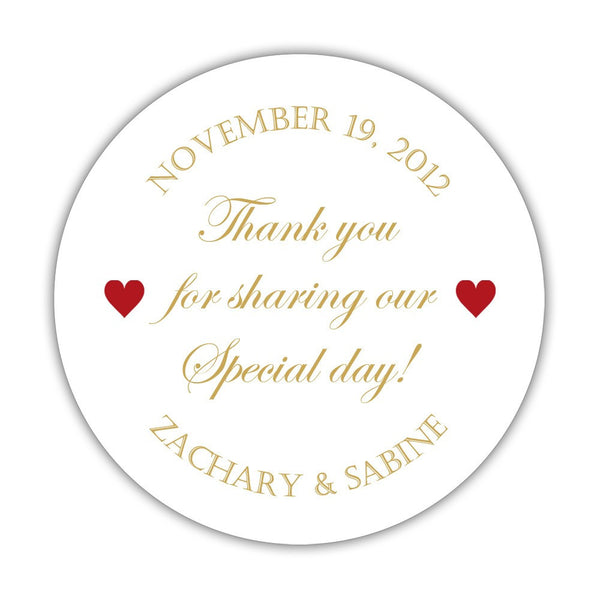 "Thank you for sharing our special day stickers - 1.5"" circle = 30 labels per sheet / Gold/Indian red - Dazzling Daisies"