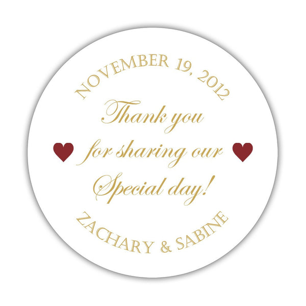 "Thank you for sharing our special day stickers - 1.5"" circle = 30 labels per sheet / Gold/Maroon - Dazzling Daisies"